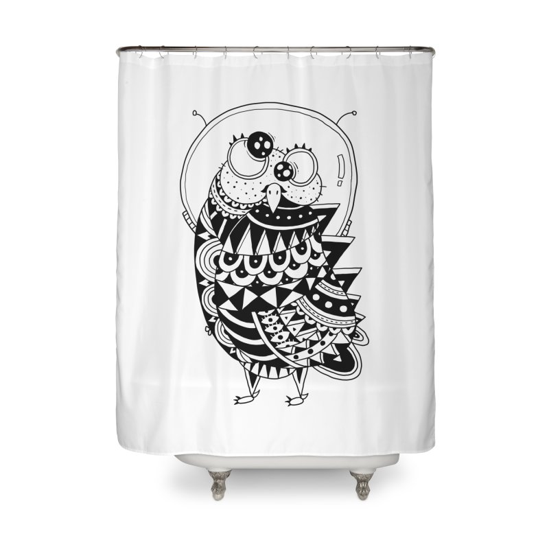 Owl Spaceman Home Shower Curtain by godzillarge's Artist Shop