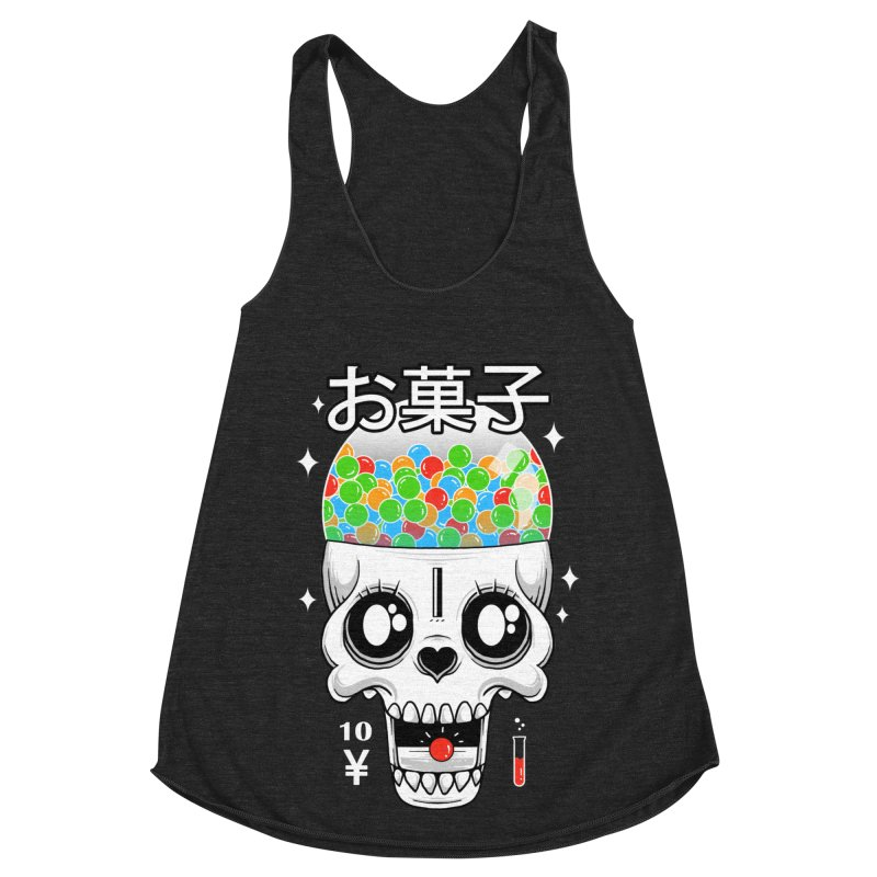Creepy Gumball Machine Women's Racerback Triblend Tank by godzillarge's Artist Shop