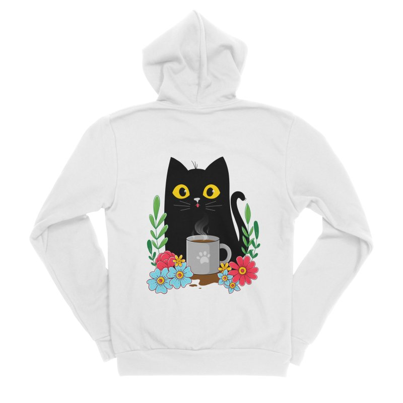 Coffee Cat Men's Sponge Fleece Zip-Up Hoody by godzillarge's Artist Shop