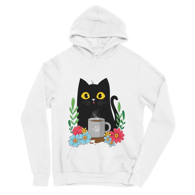 Coffee Cat Men's Sponge Fleece Pullover Hoody by godzillarge's Artist Shop