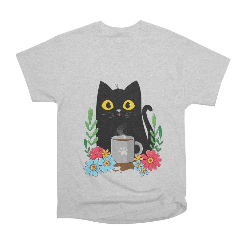 Coffee Cat Men's Heavyweight T-Shirt by godzillarge's Artist Shop