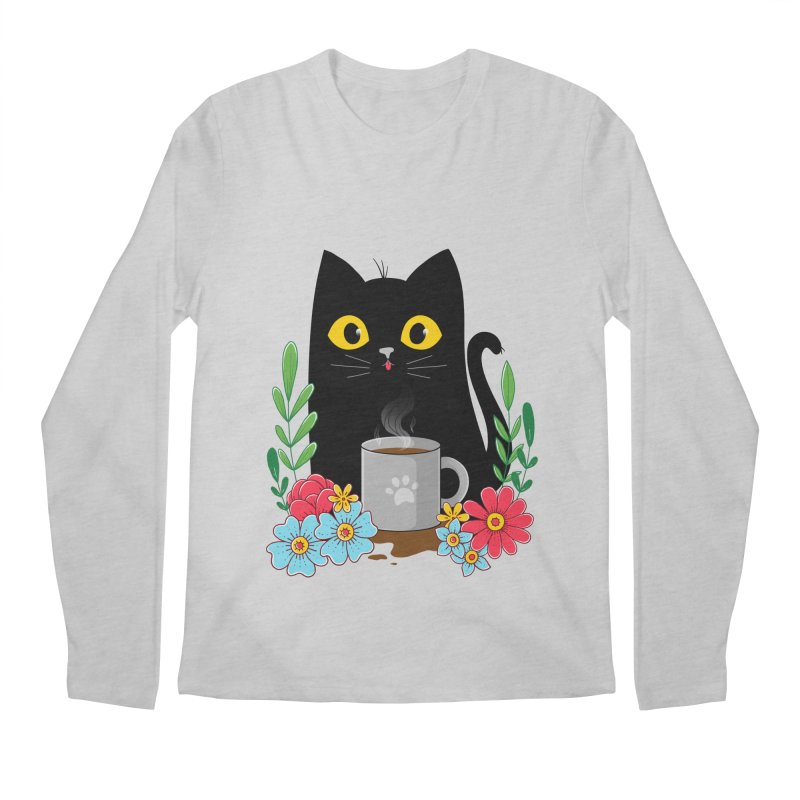 Coffee Cat Men's Regular Longsleeve T-Shirt by godzillarge's Artist Shop