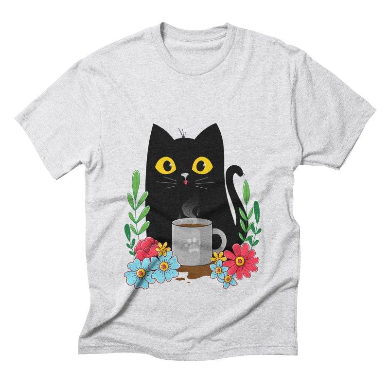 Coffee Cat Men's Triblend T-Shirt by godzillarge's Artist Shop