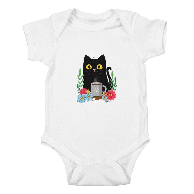 Coffee Cat Kids Baby Bodysuit by godzillarge's Artist Shop