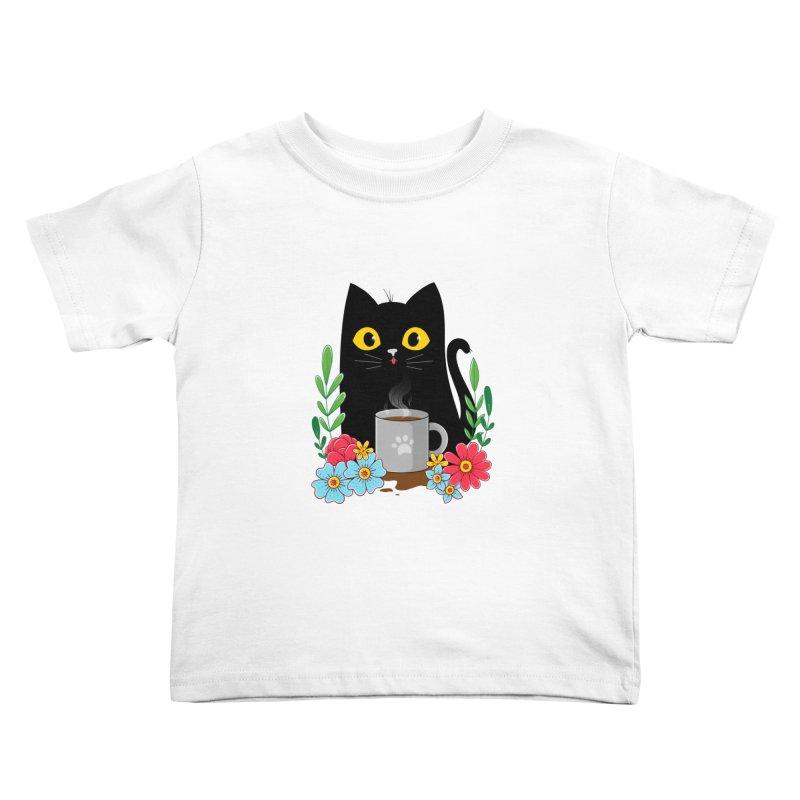 Coffee Cat Kids Toddler T-Shirt by godzillarge's Artist Shop
