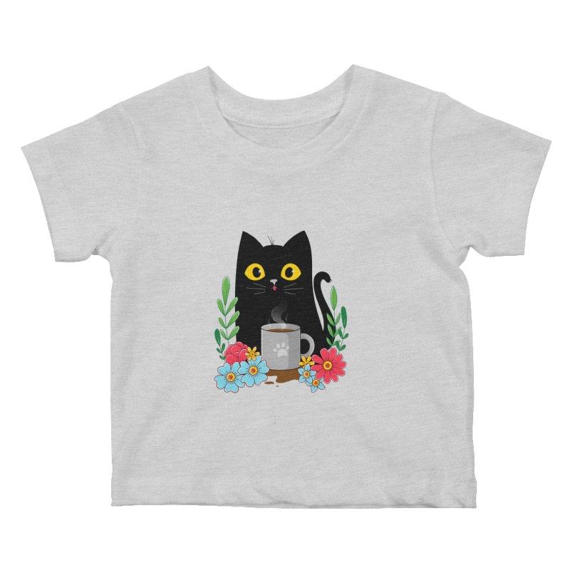 Coffee Cat Kids Baby T-Shirt by godzillarge's Artist Shop