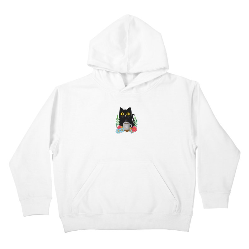 Coffee Cat Kids Pullover Hoody by godzillarge's Artist Shop