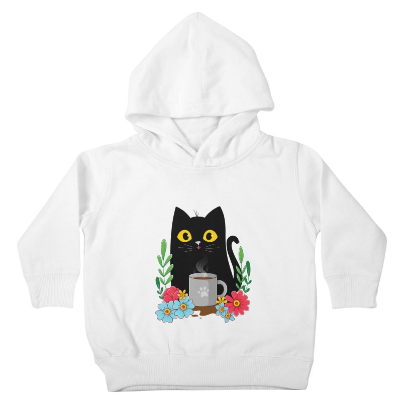 Coffee Cat Kids Toddler Pullover Hoody by godzillarge's Artist Shop