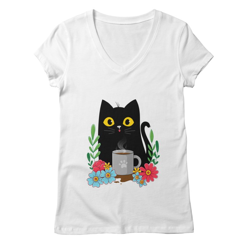 Coffee Cat Women's V-Neck by godzillarge's Artist Shop