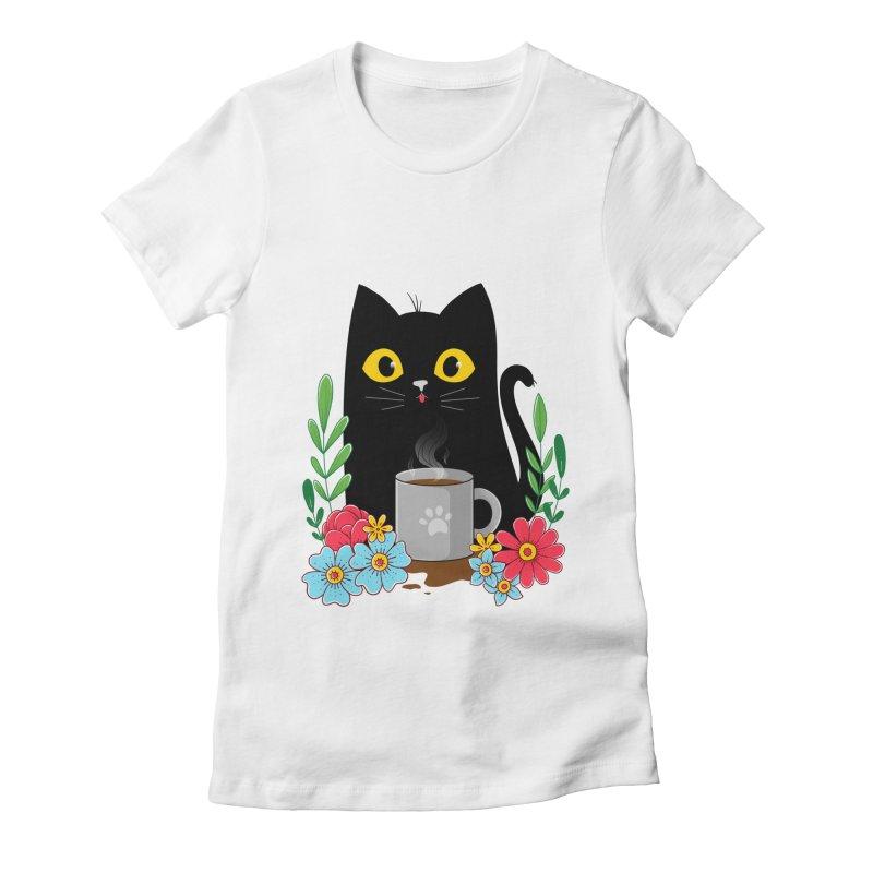 Coffee Cat Women's T-Shirt by godzillarge's Artist Shop
