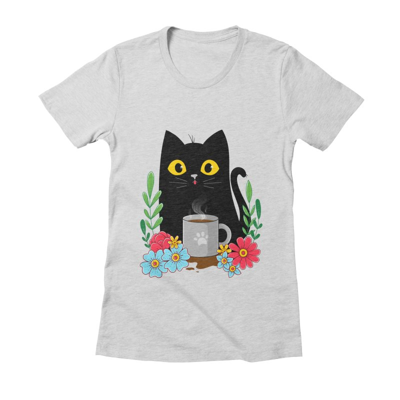 Coffee Cat Women's Fitted T-Shirt by godzillarge's Artist Shop