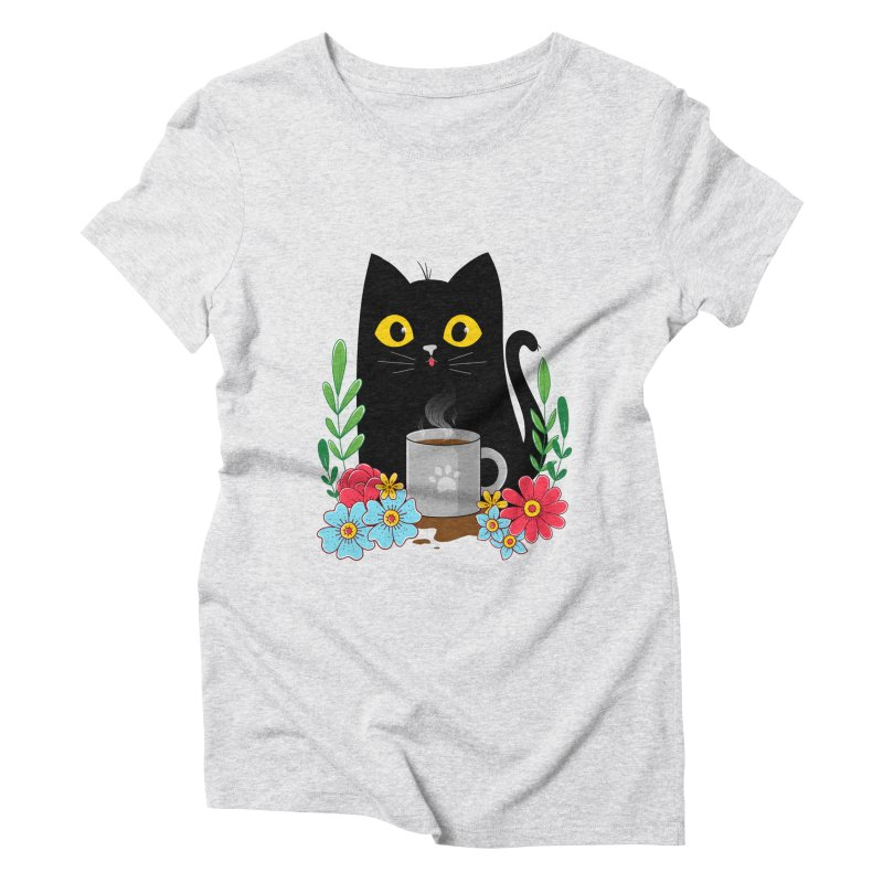 Coffee Cat Women's Triblend T-Shirt by godzillarge's Artist Shop