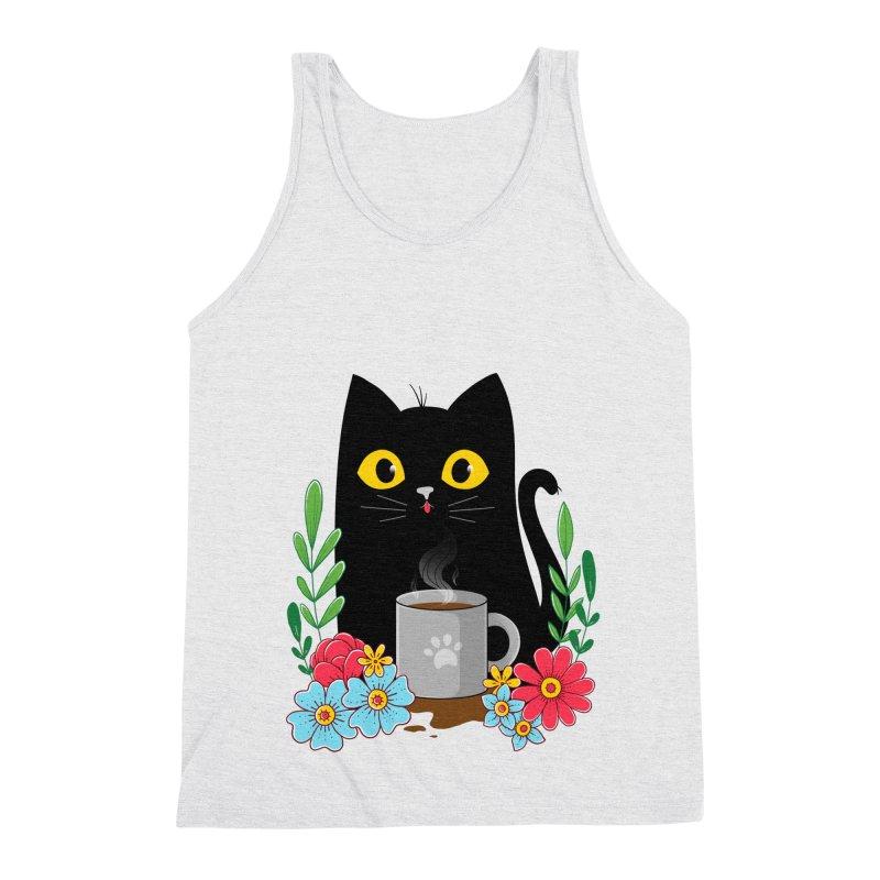 Coffee Cat Men's Triblend Tank by godzillarge's Artist Shop