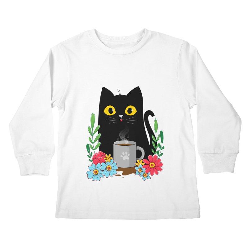 Coffee Cat Kids Longsleeve T-Shirt by godzillarge's Artist Shop
