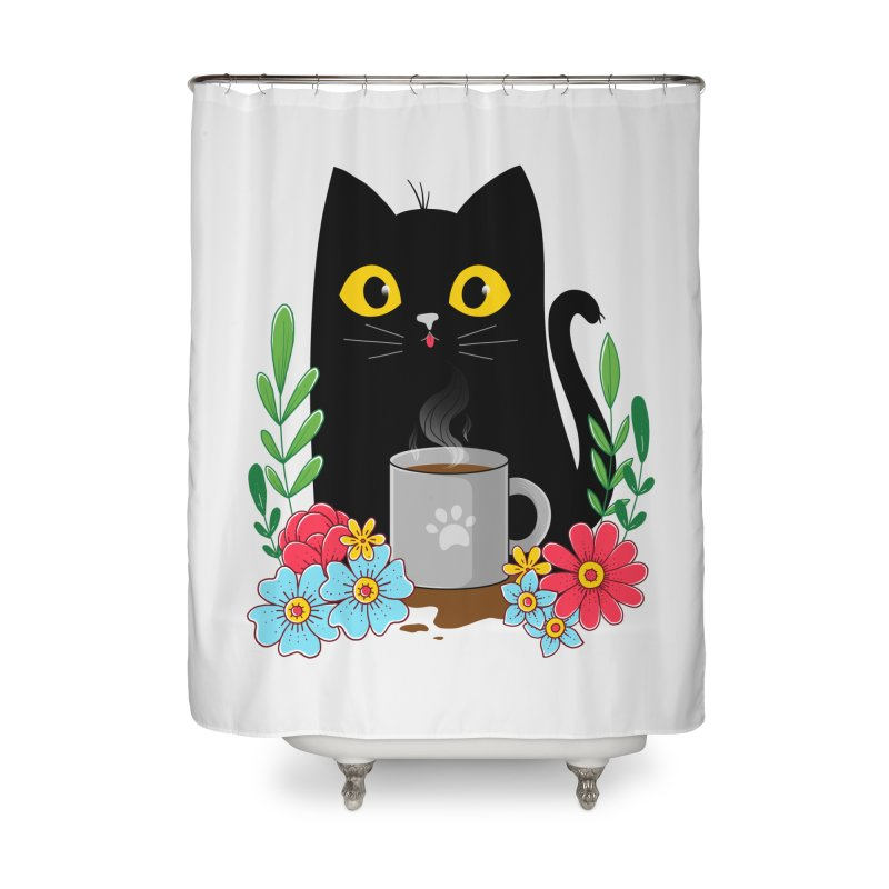 Coffee Cat Home Shower Curtain by godzillarge's Artist Shop