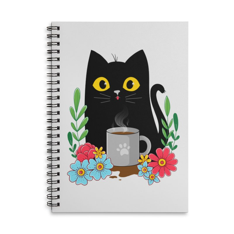 Coffee Cat Accessories Lined Spiral Notebook by godzillarge's Artist Shop