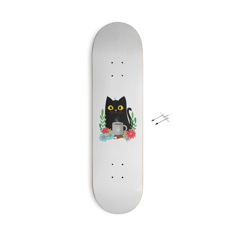 Coffee Cat Accessories With Hanging Hardware Skateboard by godzillarge's Artist Shop