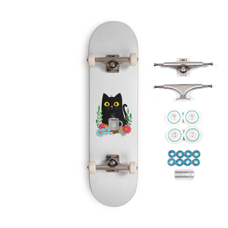 Coffee Cat Accessories Complete - Basic Skateboard by godzillarge's Artist Shop
