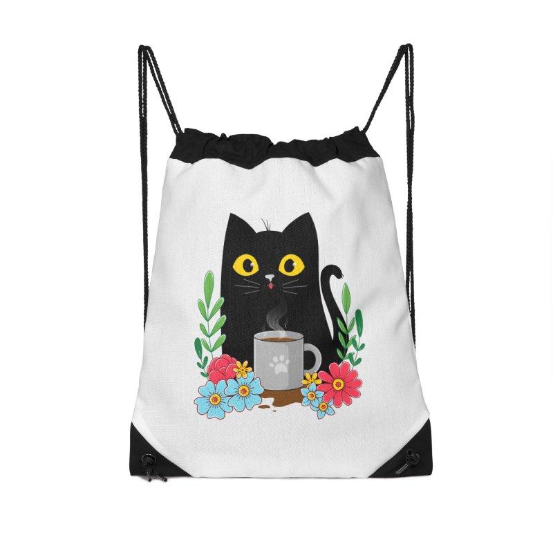 Coffee Cat Accessories Drawstring Bag Bag by godzillarge's Artist Shop