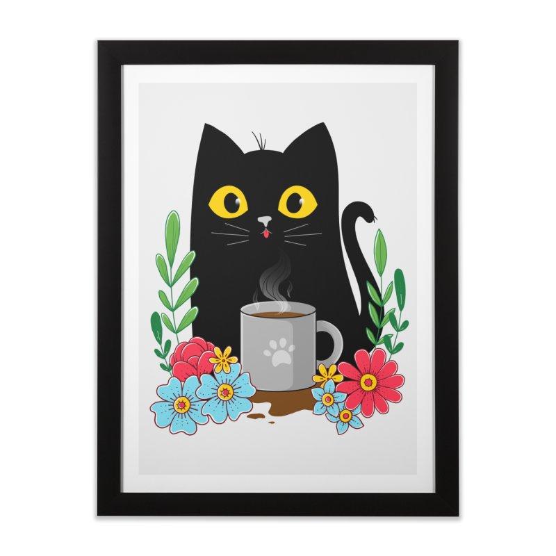 Coffee Cat Home Framed Fine Art Print by godzillarge's Artist Shop