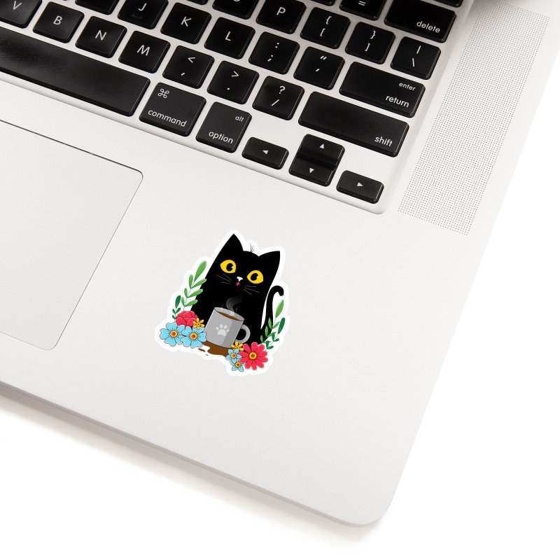 Coffee Cat Accessories Sticker by godzillarge's Artist Shop