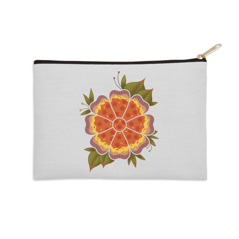 Pizza Flower Accessories Zip Pouch by godzillarge's Artist Shop