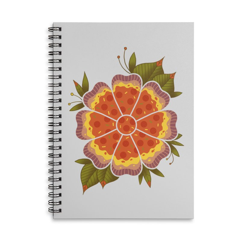 Pizza Flower Accessories Lined Spiral Notebook by godzillarge's Artist Shop