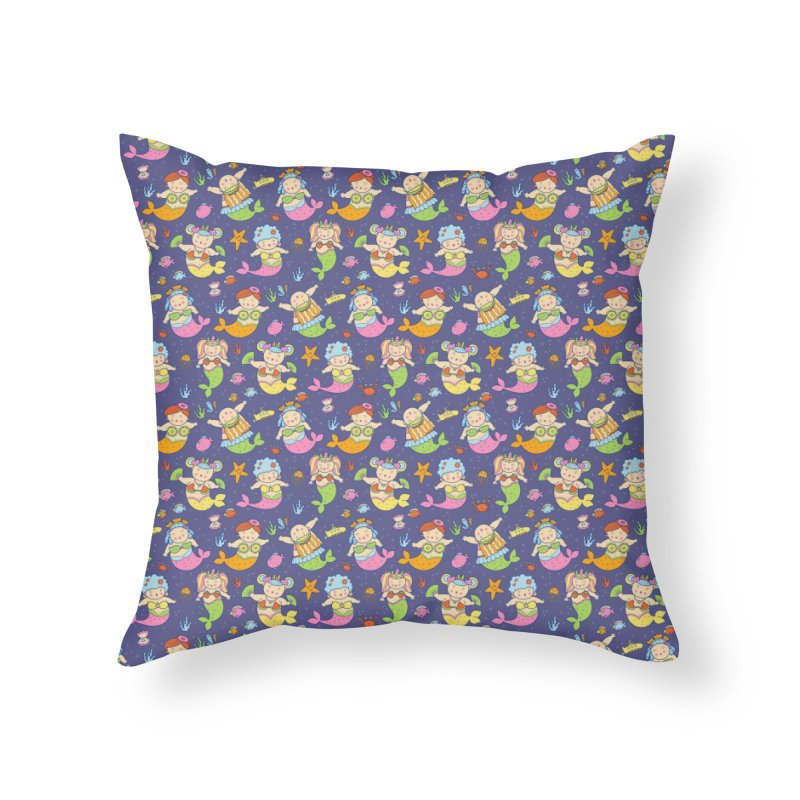 Mermaid Squad Home Throw Pillow by godzillarge's Artist Shop