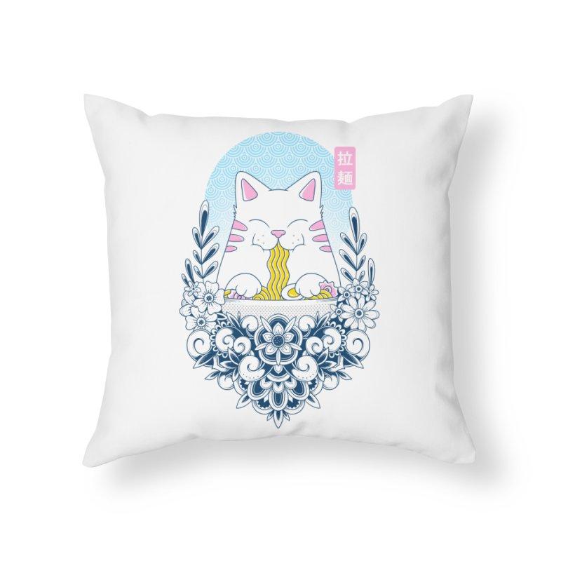 Ramen Cat Home Throw Pillow by godzillarge's Artist Shop