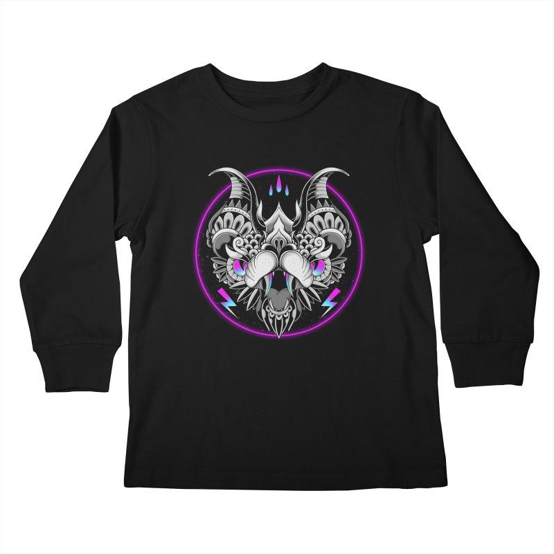 Retrowave Bat Kids Longsleeve T-Shirt by godzillarge's Artist Shop