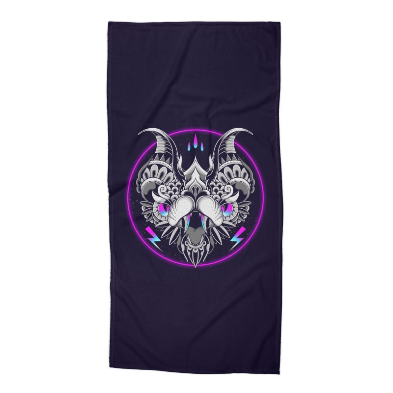 Retrowave Bat Accessories Beach Towel by godzillarge's Artist Shop