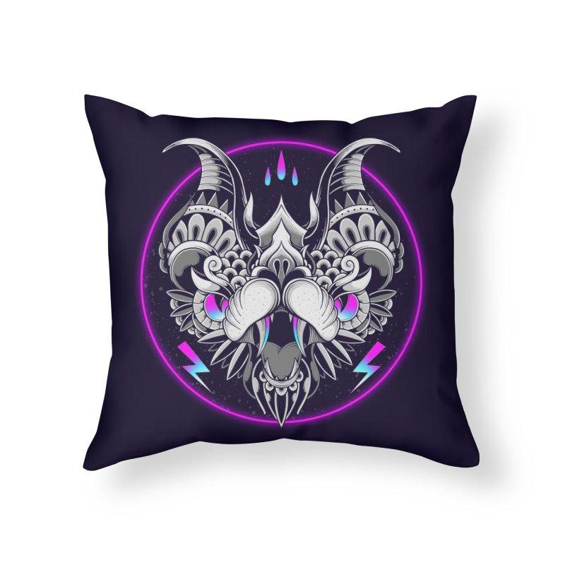 Retrowave Bat Home Throw Pillow by godzillarge's Artist Shop