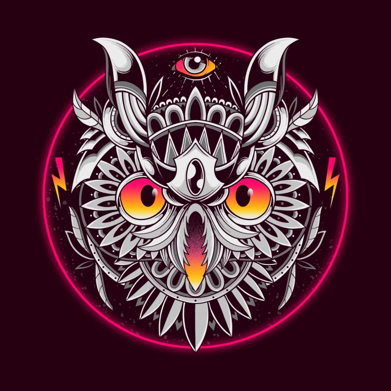 Retrowave Owl Accessories Button by godzillarge's Artist Shop