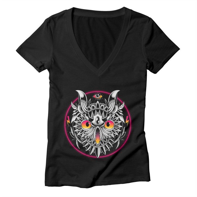 Retrowave Owl Women's V-Neck by godzillarge's Artist Shop