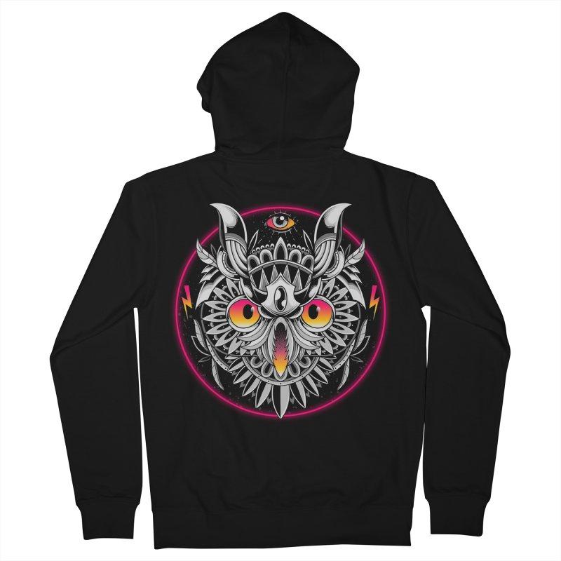 Retrowave Owl Men's Zip-Up Hoody by godzillarge's Artist Shop