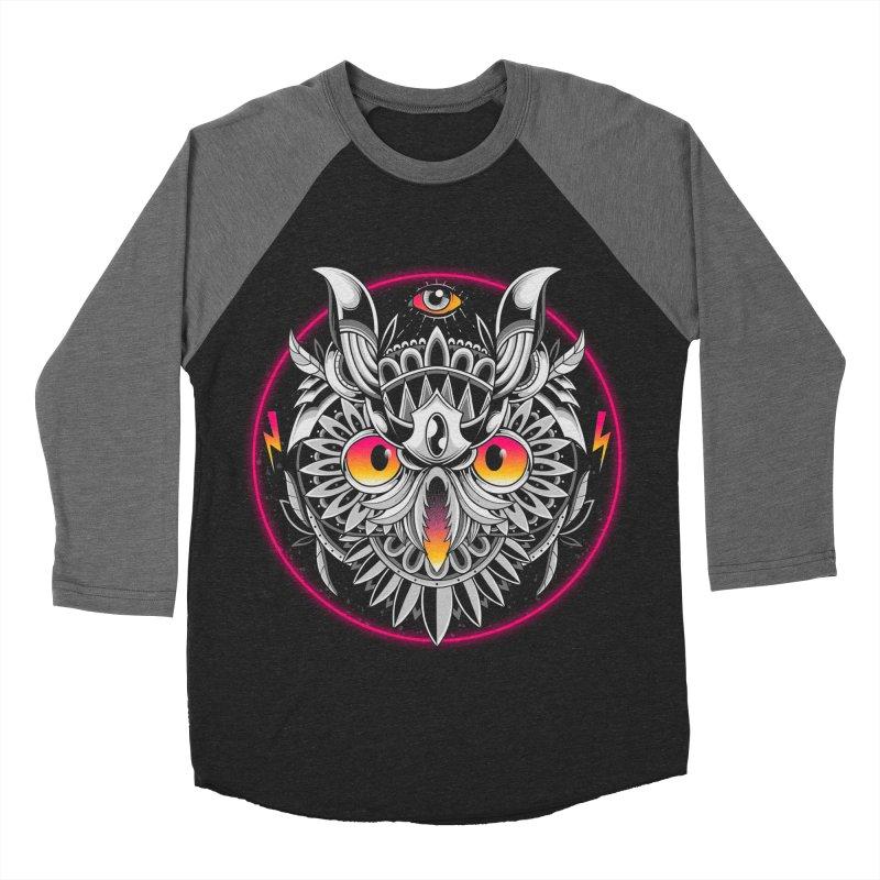 Retrowave Owl Men's Baseball Triblend Longsleeve T-Shirt by godzillarge's Artist Shop