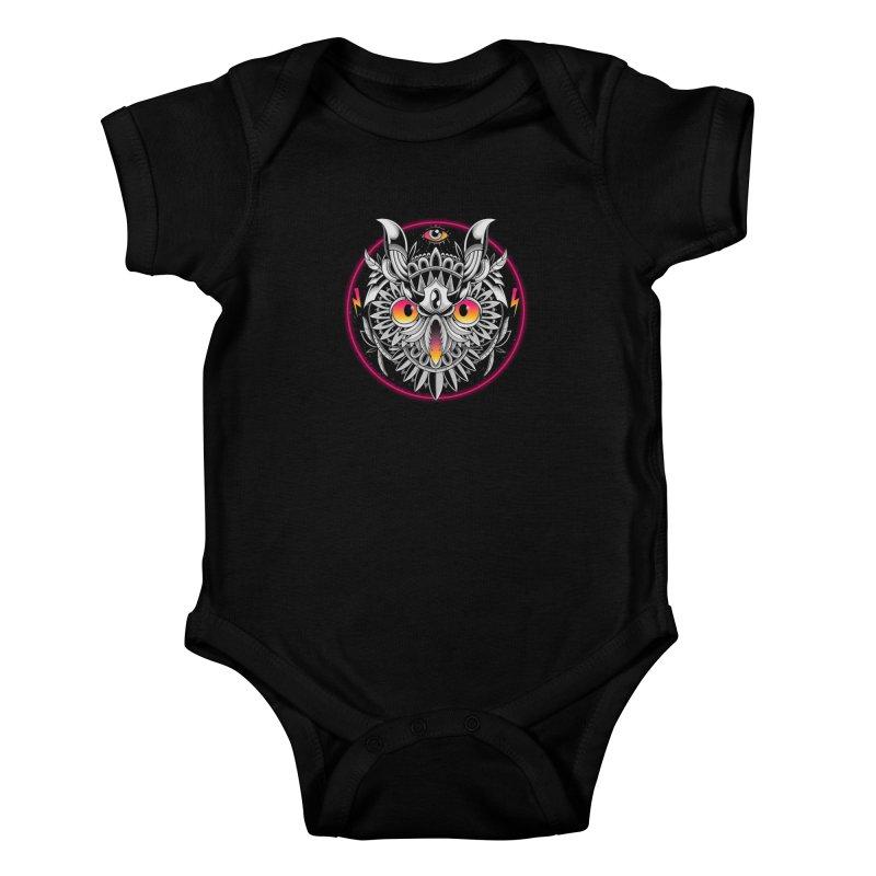 Retrowave Owl Kids Baby Bodysuit by godzillarge's Artist Shop