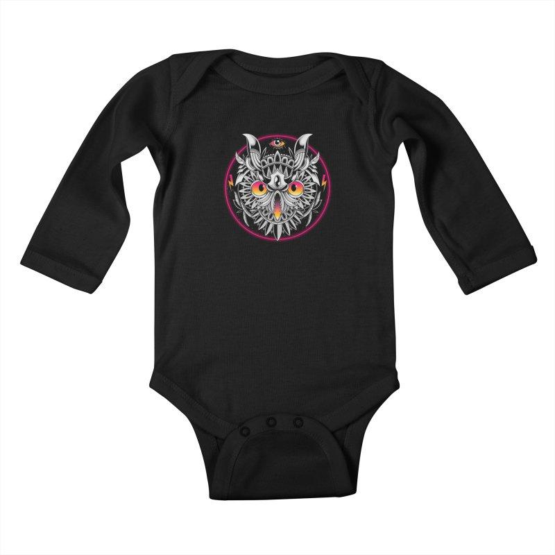 Retrowave Owl Kids Baby Longsleeve Bodysuit by godzillarge's Artist Shop