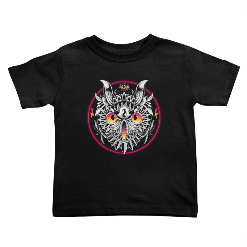 Retrowave Owl Kids Toddler T-Shirt by godzillarge's Artist Shop