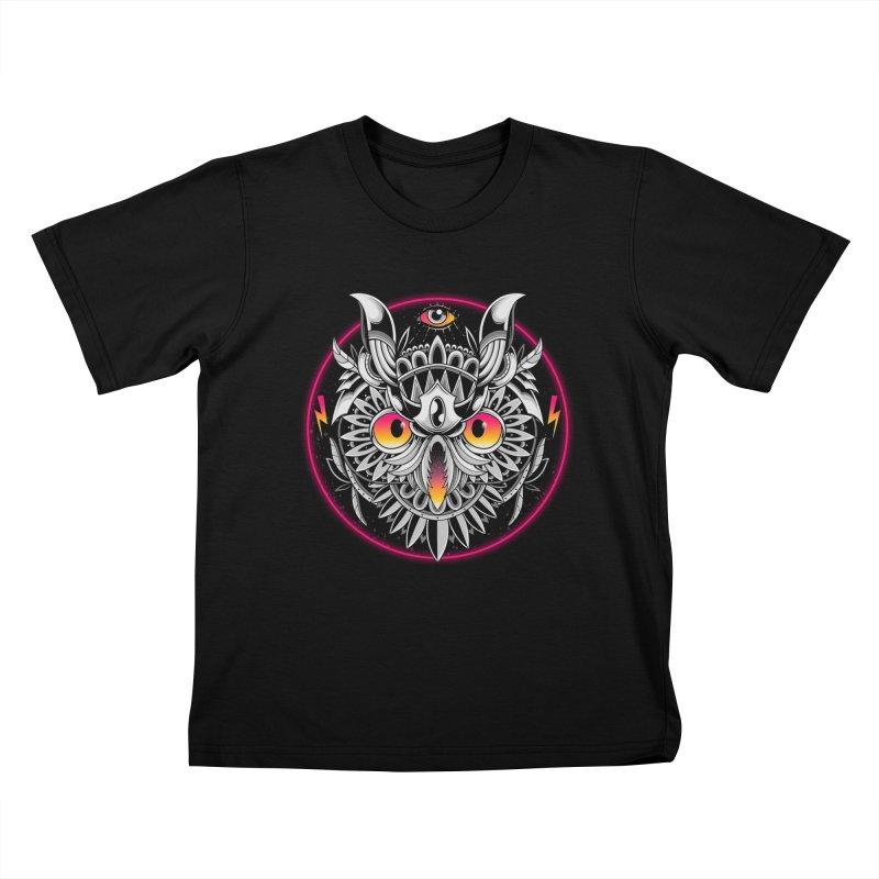 Retrowave Owl Kids T-Shirt by godzillarge's Artist Shop