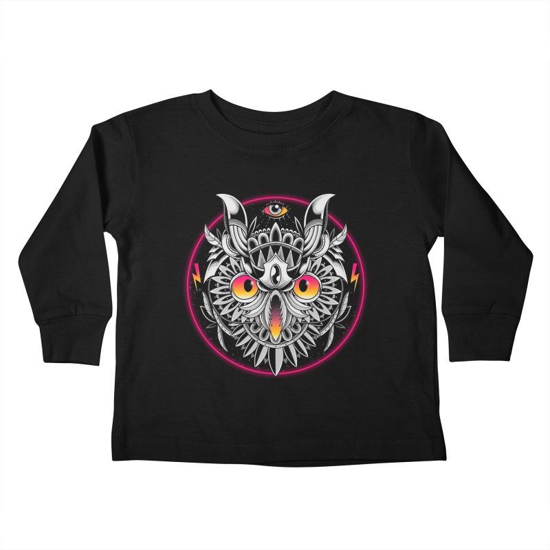 Retrowave Owl Kids Toddler Longsleeve T-Shirt by godzillarge's Artist Shop