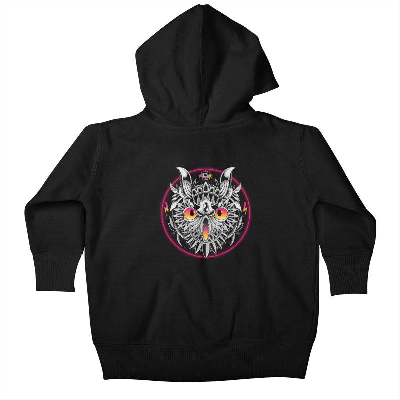 Retrowave Owl Kids Baby Zip-Up Hoody by godzillarge's Artist Shop