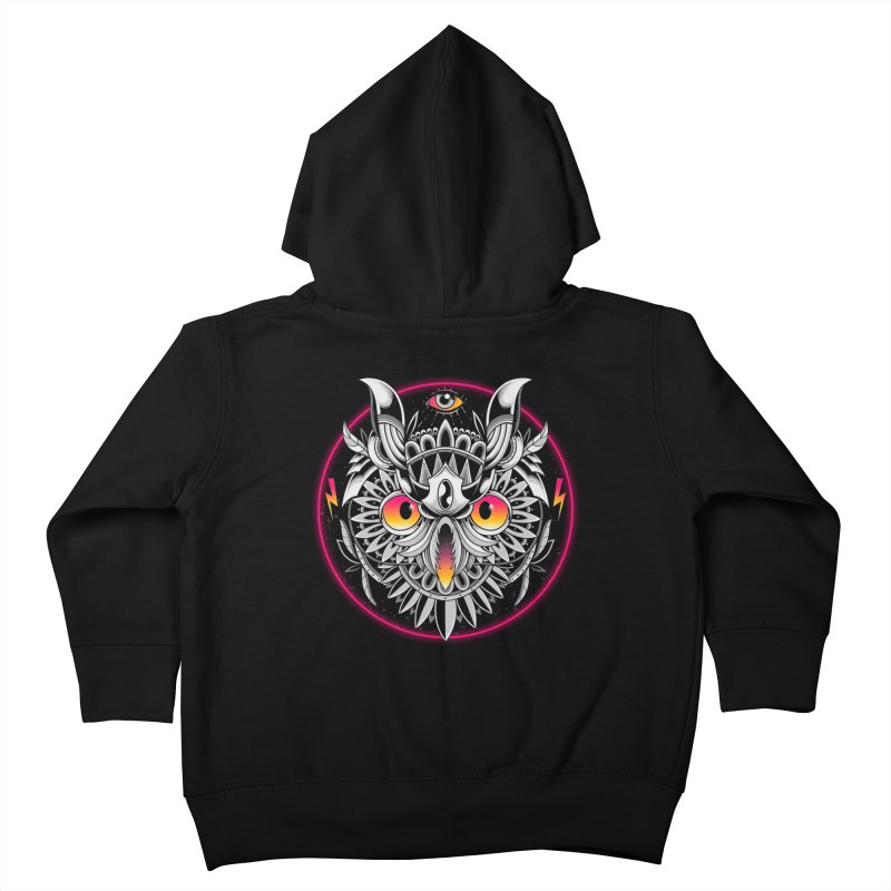 Retrowave Owl Kids Toddler Zip-Up Hoody by godzillarge's Artist Shop