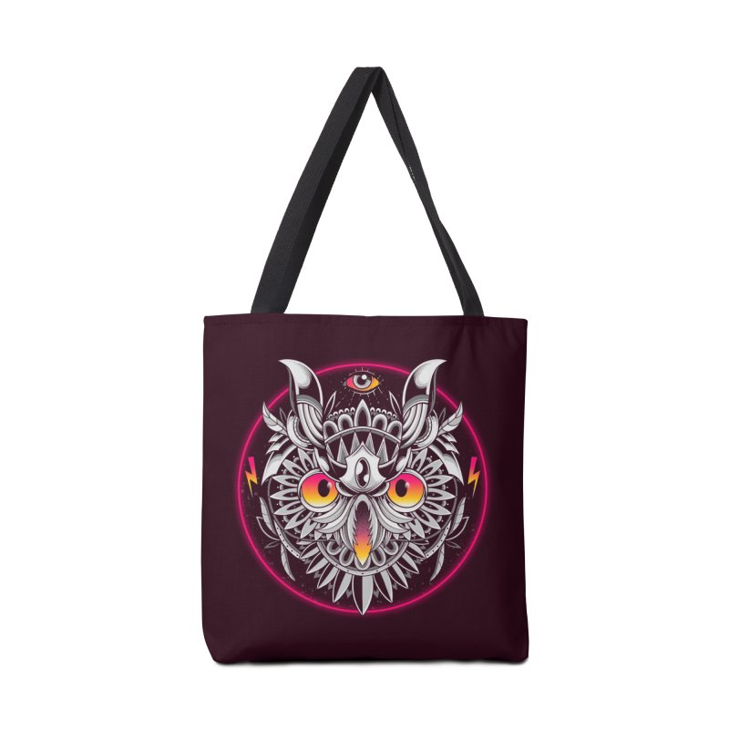 Retrowave Owl Accessories Bag by godzillarge's Artist Shop