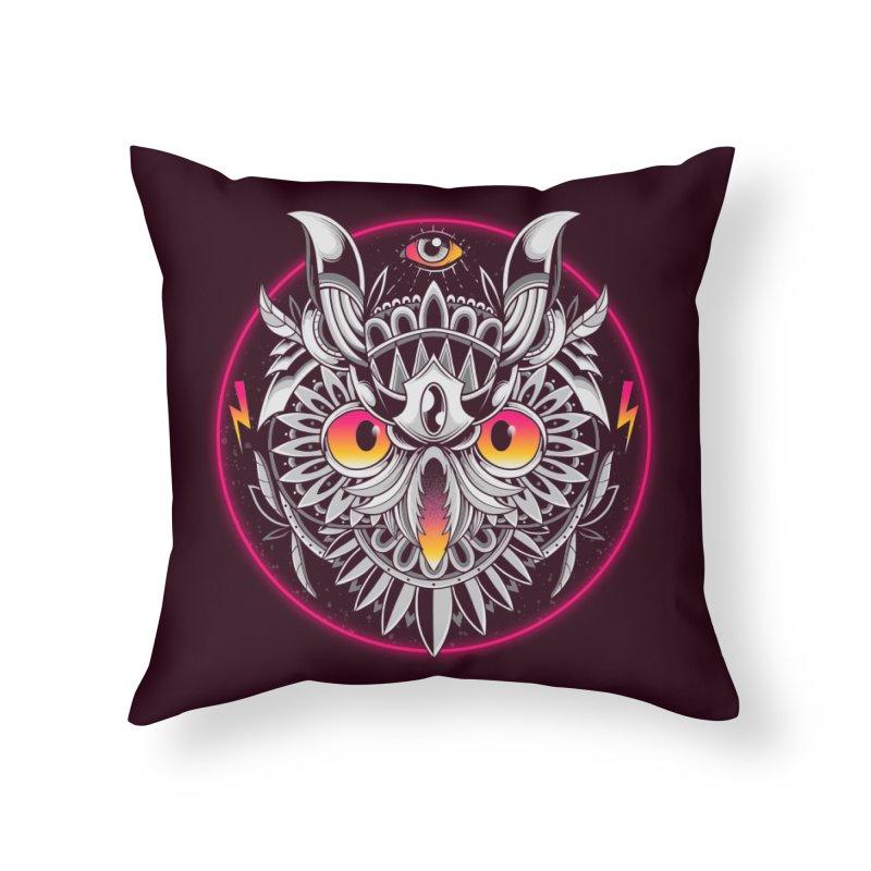Retrowave Owl Home Throw Pillow by godzillarge's Artist Shop