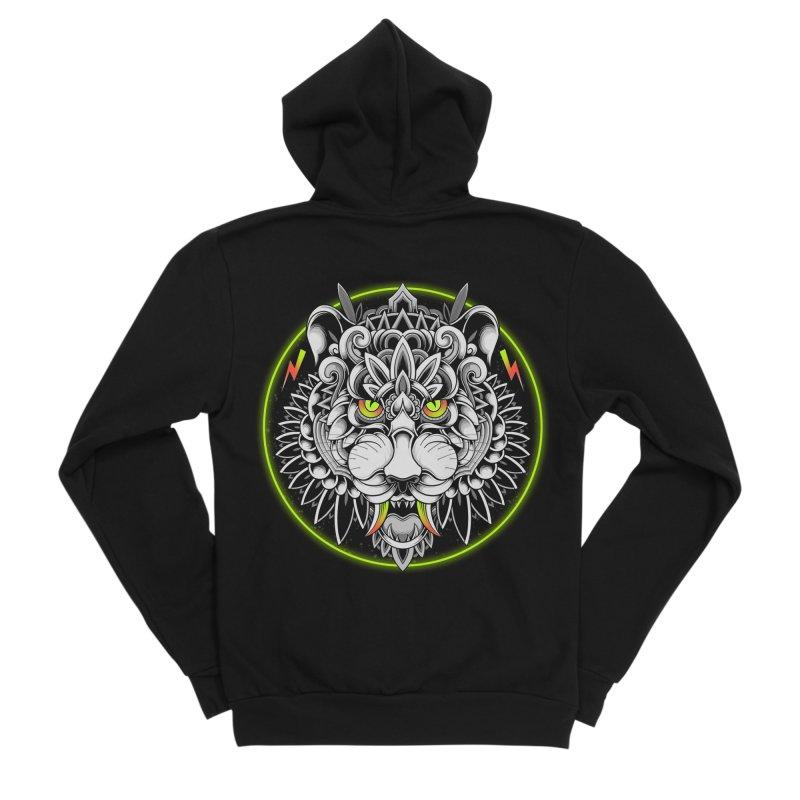 Retrowave Tiger Men's Zip-Up Hoody by godzillarge's Artist Shop