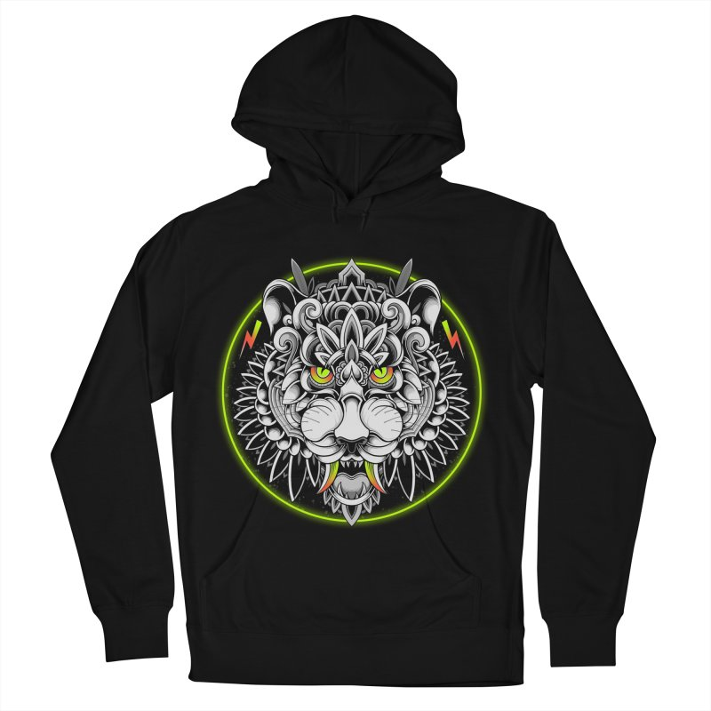 Retrowave Tiger Women's French Terry Pullover Hoody by godzillarge's Artist Shop