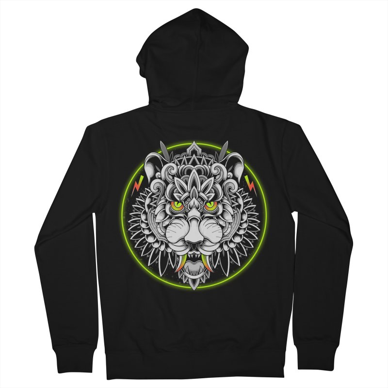Retrowave Tiger Men's Zip-Up Hoody by godzillarge's Artist Shop