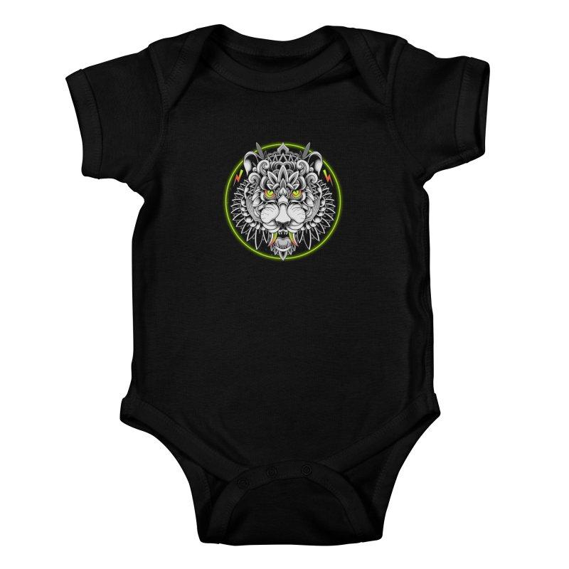 Retrowave Tiger Kids Baby Bodysuit by godzillarge's Artist Shop