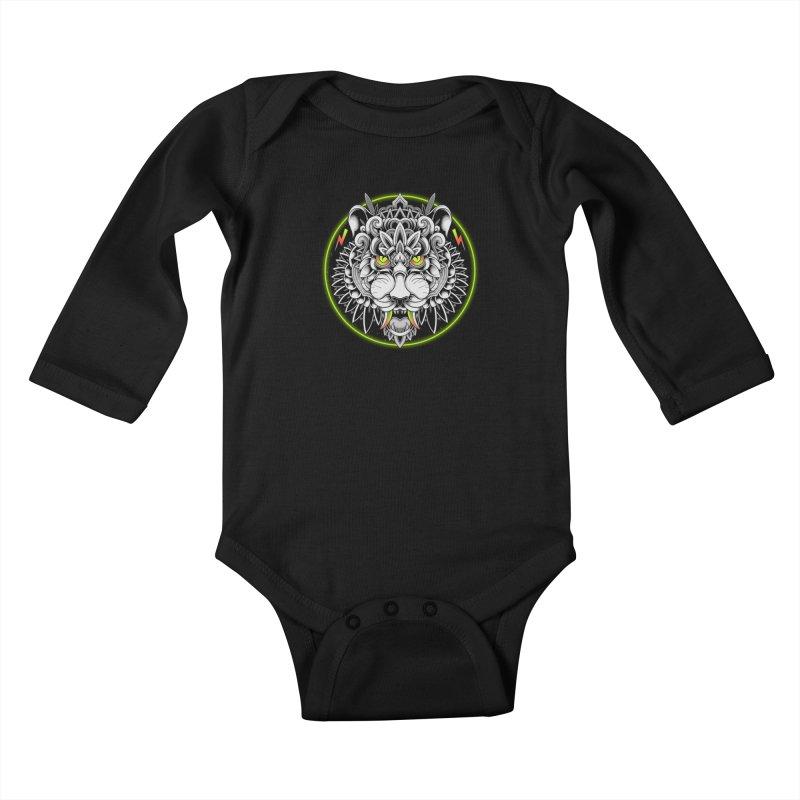Retrowave Tiger Kids Baby Longsleeve Bodysuit by godzillarge's Artist Shop